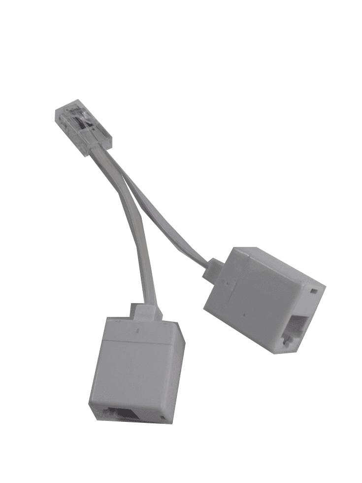 (05-6614 x 2 modified) RJ45 plug to double RJ45 Socket